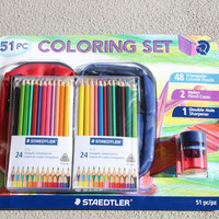 51 piece coloring set - 48 colored pencils - 2 nylon pencil cases - 1 pencil sharpener by Staedtler