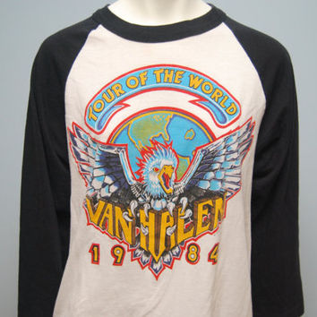"Vintage 1984 Van Halen ""Tour of the World"" Baseball T-shirt Size XL"