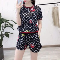 """Louis Vutitton"" Women Casual Personality Pattern Logo Print Short Sleeve Shorts Set Two-Piece Sportswear"