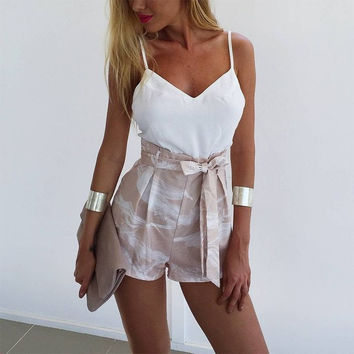 2016 Women Rompers and Jumpsuit Sexy Strapless Fashion print backless sexy playsuit Women two piece short overalls