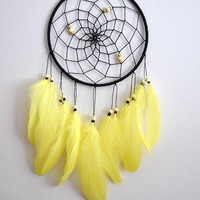 Yellow Black  Dream Catcher, Gift For Him Her, Native Dream Catcher, Yellow Feather Dreamcatcher Decor, Bedroom Wall Decor