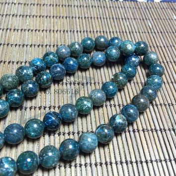 6-10MM 1Strand/pack 100% Natural Apatite Stone Round Loose Bead Strands Fine Jewelry Beads