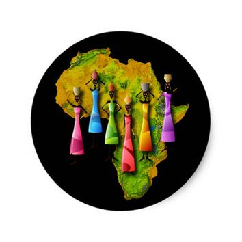 African Women In Colorful Dresses On Africa Map Classic Round Sticker