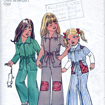 Girl's Jumpsuit - Child's Boilersuit - Uncut FF - Vintage Sewing Pattern - Simplicity Pattern 7277 - Chest 23 Inch / 58 Cm