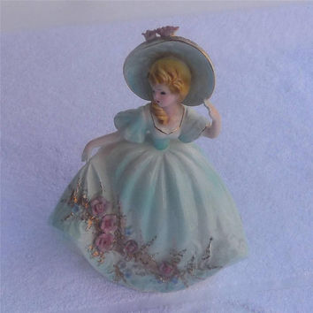 "Woman Figurine Josef Originals 8"" Curtsy Blue Lady Figurine Vintage"