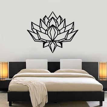 Polygonal Lotus Vinyl Wall Decal Abstract Flower Room Decoration Stickers Mural (ig5337)