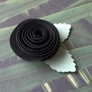 black rose boutonniere groomsman pin back groom rolled paper flower lapel brooch bridal party bridal shower wedding reception family favors