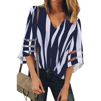 Blue Striped 3/4 Bell Sleeve V Neck Lace Patchwork Blouse