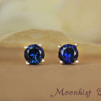 Blue Sapphire Filigree Post Earrings - Sterling Gemstone Stud Earrings - Bridal Jewelry - Bridesmaid Gift - Updated Traditional
