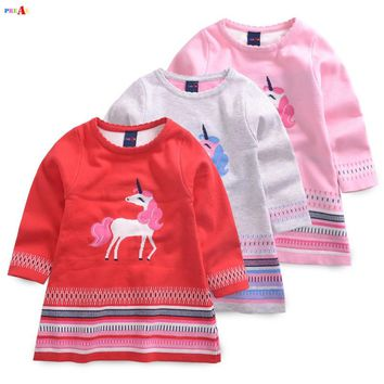 Spring Autumn Kids Sweater Dresses for Girls Unicorn Pony Embroidery Princess Baby Girl Knitted Sweater Dress 2-6Y Gray Pink Red