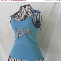Butterfly 70s Vintage Tie Strap Tank Top Harley Davidson T Shirt Authentic Harley Womens Tank Top