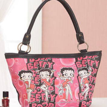 Licensed Leatherette Betty Boop Hand Bag Purse Pocketbook Lined Interior Pockets