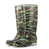 Men Camouflage Waterproof Transparent Rubber Knee High Slip On Rain Boots