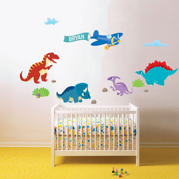 Dinosaur wall decals with name and airplane for nursery - Removable & Reusable Fabric vinyl