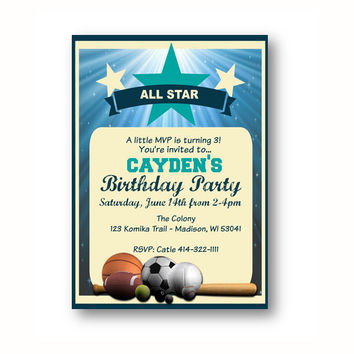 Sports Birthday Invitation All Star Party invite - printable football basketball soccer tennis baseball theme birthday boy little MVP blue