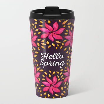 Hello Spring Watercolor Flowers Wreath Metal Travel Mug by borianagiormova