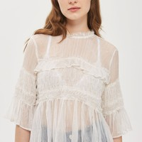 Metallic Stripe Frill Top | Topshop
