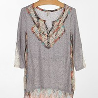 Gimmicks By BKE Pieced Chiffon Henley Top