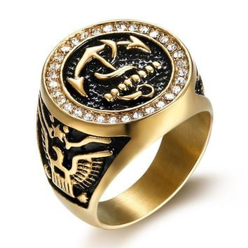 Anchor Eagle US Navy Vintage stainless steel Ring fashion jewelry best friends High-quality Promotion men rings G0006