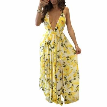 beach dress 2017 women print lemon dress sexy deep v neck long maxi dress summer Hollow Out sleeveless  yellow chiffon dresses