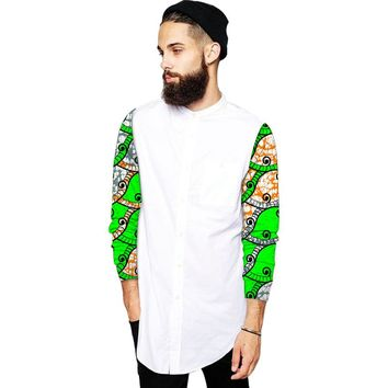 African-Print Fabric Long Sleeve Shirts
