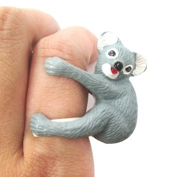 3D Koala Bear Figurine Shaped Animal Wrap Ring for Kids | US Size 3 to 5