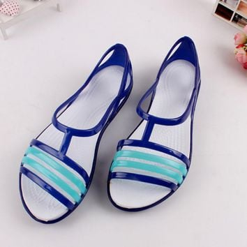 Jelly Sandals Mixed Colors Cross Summer Open Peep Toe Beach Shoes