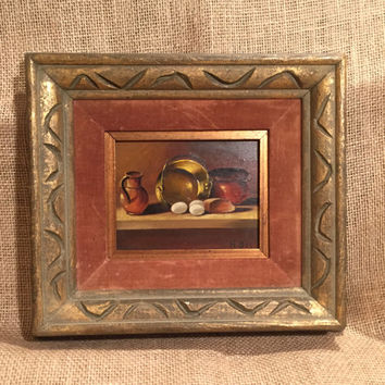 Vintage Framed Oil Painting Still Life Fruit, Bread, Pitcher Copper Kettle