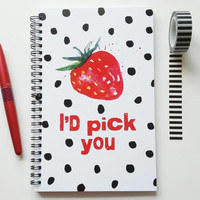 Writing journal, spiral notebook, cute notebook, bullet journal, black red, strawberry, diary, sketchbook, blank lined grid - I'd pick you