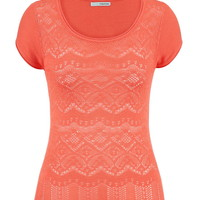 Open Stitch Front Short Sleeve Sweater