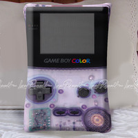 Purple Game Boy Color on Decorative Pillow Covers