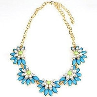 Shorouk Style Chunky Necklace Crystal Lotus Flower Medium Blue