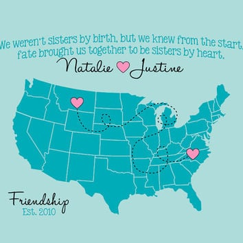 Best Friends Map Long Distance Personalized Art Print 8x10