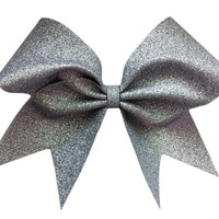 Silver glitter cheer bow.
