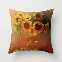 Sunflower Reflections Throw Pillow by Theresa Campbell D'August Art