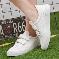White Round Toe Flat Velcro Casual Shoes