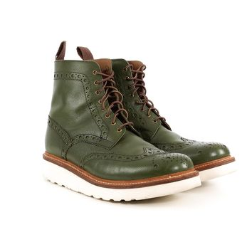 Grenson Green Brogue Boots