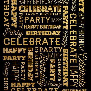 Custom Celebrate Happy Birthday Party Backdrop Gold and Black Background (ANY TEXT) Wedding, Baby Shower - C0172