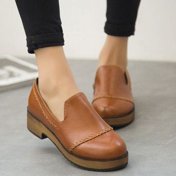 CREYUG3 Summer England Style Vintage Round-toe With Heel Korean Casual Zippers Shoes [6366208452]