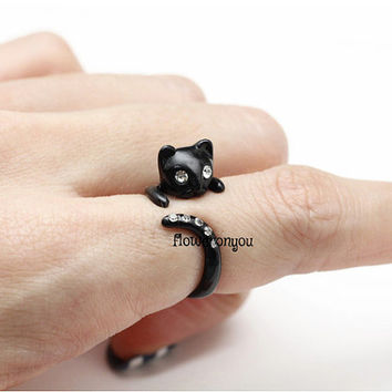 cat ring, black cat ring, retro ring, adjustable ring, animal wrap ring, animal ring, black cat, woman ring, vintage ring