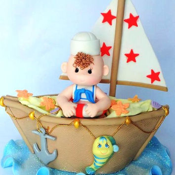 Sailor Cake Topper, Sailor Decoration, Sail Boat, Ahoy Its a Boy, Nautical Baby Decoration, Nautical Baby, Sailboat Cake Topper, Sailor Boy