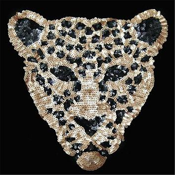 Sequins patch leopard DIY patches for clothes Sew-on embroidered patch motif applique deal with it free shipping