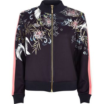 Navy oriental print tracksuit jacket - Hoodies / Sweatshirts - Tops - women