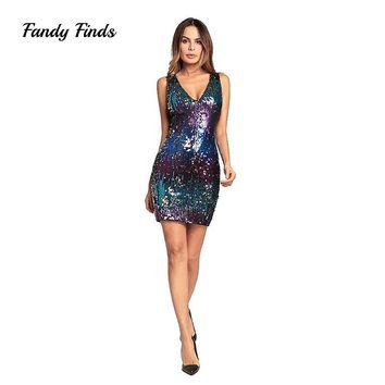 Fandy Finds Women Sequin Dress Multi Color Gallus V-Neck Ladies Spring Sleeveless Banquet Night Club Sexy Sequin Lady Dress