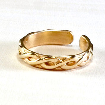 gold filled braided toe ring