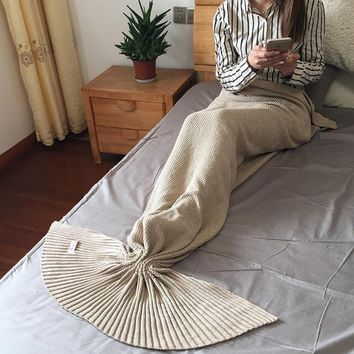 Knitted Mermaid Sofa Blanket Autumn&Winter HEAVY HIGH QUALITY Khaki