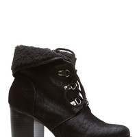 Black Faux Nubuck Lace Up Chunky Booties