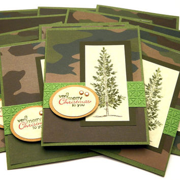 Christmas Camouflage, Greeting Card Set, Handmade, Holiday Stationery, PineTree,  Evergreen And Parchment