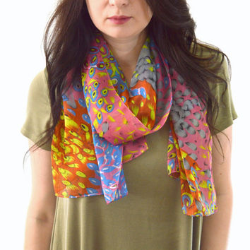 Peacock Feather Printed Scarf, Fashion Woman Scarf, Summer Spring Scarf, Gift