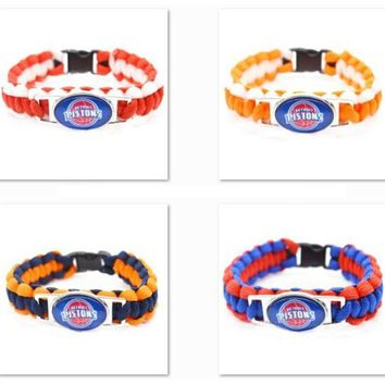2017 New Basketball Bracelet Detroit Pistons Charm Braided Bracelet for Men Women  Sport Bracelet Jewelry Gifts